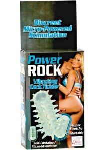 Power Rock Vibrating Cock Tickler With Removable Micro Tickler 2.5 Inch Clear