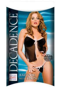 Decadence Baby Doll with Thong Black with White