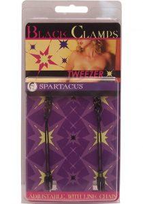 Black Tweezer Nipple Clamps Adjustable With Link Chain Black