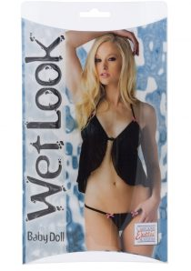 Wet Look Baby Doll Black