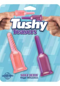 Tushy Teasers Soft Jelly Finger Stimulators 3.75 Inch Pink Purple