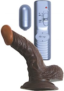 Real Skin Afro American Whoppers Vibrating Dong With Balls 5 Inch Brown