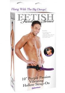 Fetish Fantasy Series Purple Passion Vibrating Hollow Strap-On Purple 10 inch
