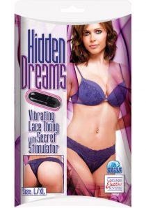 Hidden Dreams Vibrating Lace Thong with Secret Stimulator Purple