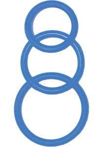 Super Silicone Cockrings Set Of 3 Rings Waterproof Blue