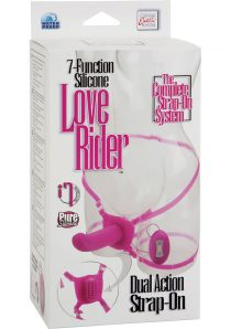 7 Function Silicone Love Rider Dual Action Strap On Waterproof Pink