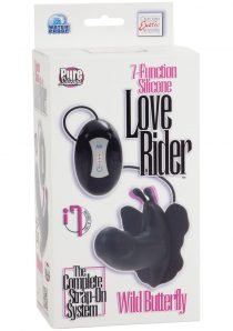 7 Function Silicone Love Rider Wild Butterfly Strap-on Waterproof Black