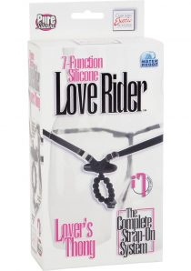 7 Function Love Rider Silicone Vibrating G String Thong Waterproof Black Adjustable