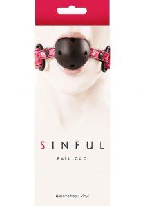 Sinful Vinyl Ball Gag Pink Adjustable