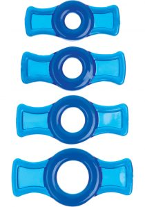 TitanMen Tools Cock Ring Set Blue 4 Each Per Set