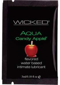 Wicked Aqua Flavored Water Based Foil Packs Candy Apple .10 Ounce 144 Each Per Bag