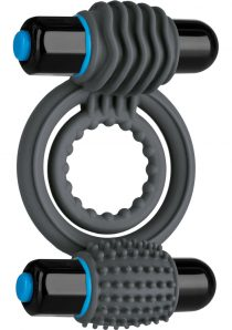 Optimale Silicone Vibrating Double C-Ring Waterproof Slate