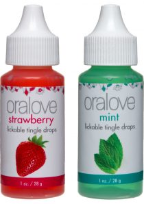 Oralove Delectable Duo Lickable Tingle Drops Strawberry And Mint Two 1 Ounce Bottles