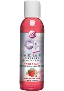 Candiland Sensuals Sweet N Tart Warming Massage Gel Strawberry Sour 2 Ounce – Bulk