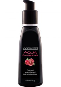 Wicked Aqua Water Based Flavored Lubricant Pomegranate 2 Ounce
