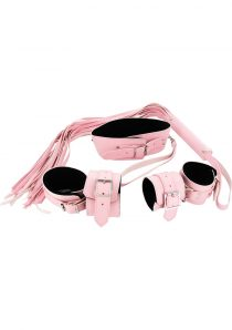 Bondage Set Leatherette And Faux Fur Pink And Black