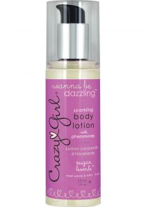 Crazy Girl Sparkling Body Lotion With Pheromones Sugar Bomb Sweet Peony and Sultry Musk 6 Ounce