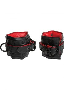 Kink Leather Ankle Restraints Padded Red And Black 16.8 Inch