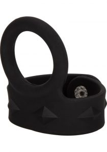 Silicone Tri-Snap Scrotum Support Ring Large Black