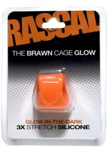 Rascal The Brawn Cage Glow 3x Stretch Silicone Cock Ring Glow In The Dark Orange