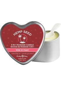 Hemp Seed 3 In 1 Massage Candle 100% Vegan Wild At Heart 4 Ounce Heart Tin