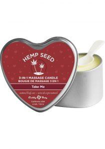 Hemp Seed 3 In 1 Massage Candle 100% Vegan Take Me 4 Ounce Heart Tin