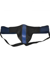 Rouge Leather Jock Strap With Stripes Blue And Black Extra Large