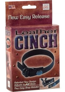 Leather Cinch Adjustable Cockring With Snap Release Black