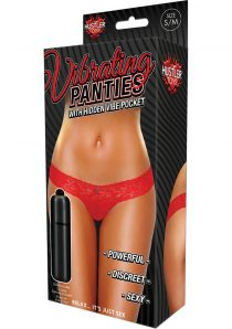 Hustler Toys Vibrating Panties Lace Thong With Hidden Vibe Pocket Red Medium/Large
