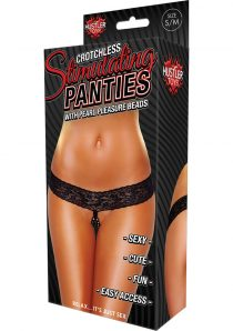 Hustler Toys Crotchless Stimulating Panties With Pearl Pleasure Beads Black Medium/Large