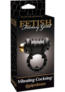 Fetish Fantasy Gold Vibrating Cock Ring Black 1.25 Inch Diameter