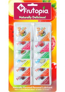 Frutopia Water Based Lubricants Assorted Flavors .11 Ounce Foils 12 Each Per Pack
