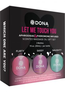 Dona Let Me Touch You Pheromone Infused Scented Massage Oil Gift Set 3Each 1 Ounce Bottle