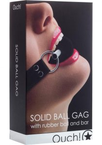 Ouch Solid Ball Gag With Rubber Ball And Bar Black