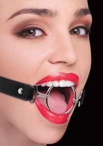 Ouch! Ring Gag XL With Leather Straps Black