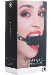 Ouch! Cylinder Gag With Leather Straps Black