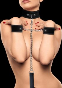 Ouch Velcro Collar With Seperate Cuffs Black