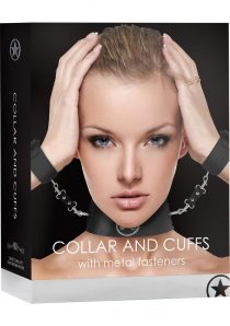 Ouch! Leather Collar And Cuffs With Metal Fasteners Black