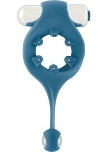 Mjuze Infinity Silicone Vibrating Cockring With Dangling Ball Waterproof Blue