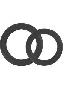 Mjuze Infinity Silicone Cock Ring Set Waterproof Black 2 Each Pack Thin Medium and Large