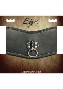 Edged Leather Soft Posture Collar Adjustable Black