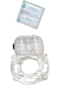 Vibrating Ring With Lubricated Condom Pulsating Erection Keeper Crystal