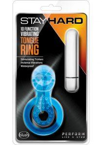 Stay Hard 10 Function Vibrating Tongue Cock Ring Waterproof Blue