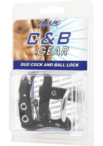 CandB Gear Duo Cock And Ball Lock Adjustable Cock Ring Black