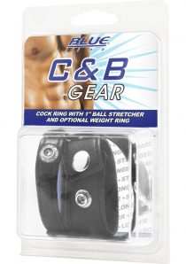 CandB Gear Cock Ring With Ball Stretcher Black 1 Inch