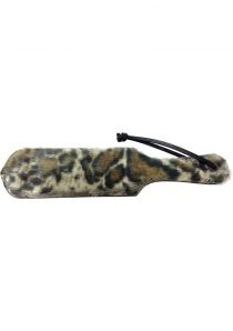 Rouge Leather Paddle With Fur Leopard And Black 13.5 Inch