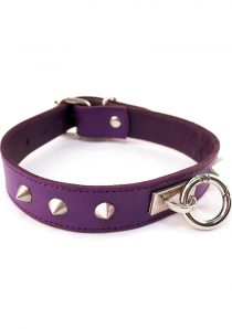Rouge O Ring Studded Leather Collar Purple