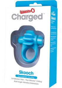 Charged Skooch Rechargeable Vibe Silicone Cock Ring Waterproof Blue