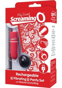 My Secret USB Rechargeable Vibrating Panty Set With Silicone Remote Control Ring Waterproof Red