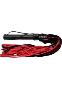 Rouge Suede Flogger With Leather Handle Black and Red